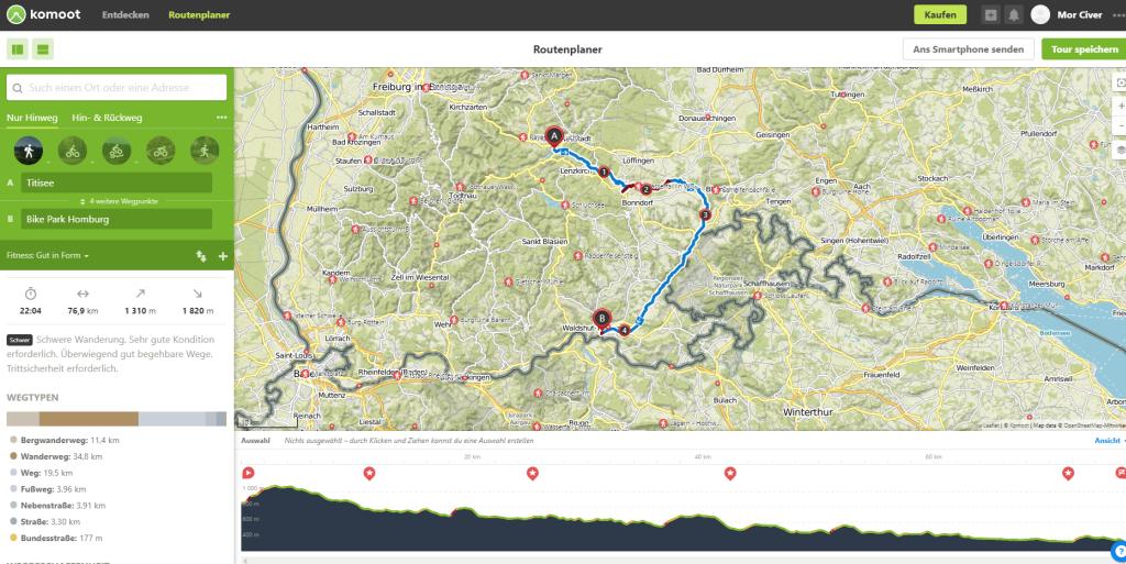Mit der Planungsansicht von Komoot lassen sich einfach Routen erstellen.